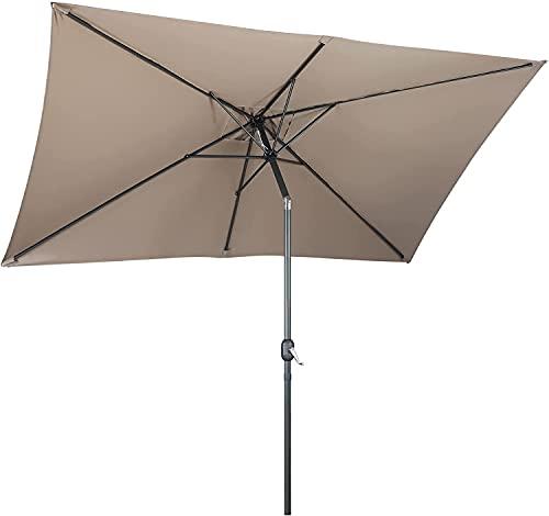 3 x 2 m Parasol Inclinable Rectangulaire, Parasol Portable Extérieur en Aluminium, Parasol de Balcon Plage, Parasol de Jardin Étanche à la Pluie, Protection UV 50+, 180 g/m², Kaki
