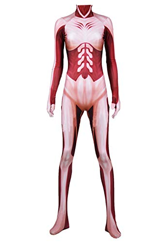 Obtai Halloween AOT Giants Annie Bodysuit Jumpsuit Unisex Fancy Dress Party Cosplay Costume (Large) Red