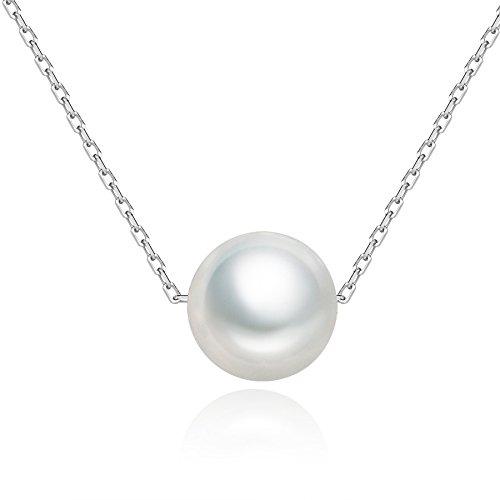 SILBERTALE Collar de perlas de plata de ley 925, flotante, 7 – 8 mm, para damas de honor, cadena de eslabones finos de 1,3 mm, 35 – 40 cm