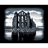 Ruin krasbeeld Scraper Abbey Grootte: 20 cm x 25 cm