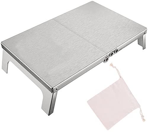アウトドアテーブル ミニローテーブル キャンプ テーブル 折畳テーブル ステンレス製 二つ折りテーブル コンパクト 軽量 耐荷重25kg ソロキャンプ BBQ 登山 ツーリング 収納袋付き