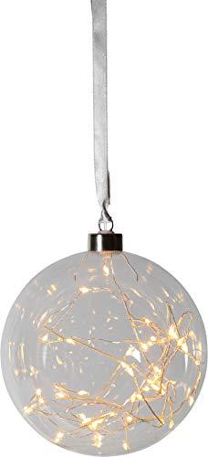 Best Season 457-75 - Sfera di vetro 'Glow', con 40 LED, diametro circa 15 cm, bianco caldo/trasparente, 1,5 x 1,5 x 1,6 cm