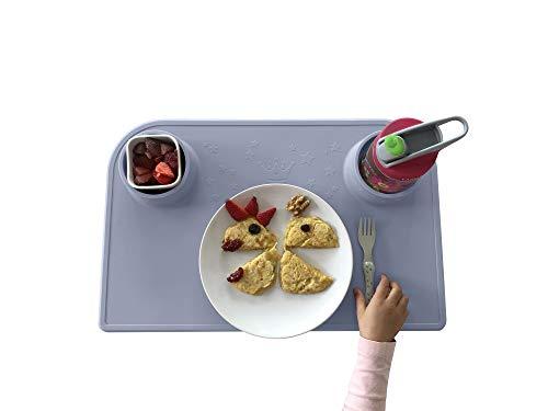 Bellivia eat & play pad (Blau) – innovative Essunterlage & Bastelunterlage | Tischset, Platzmatte, Platzset für Kinder und Babies | rutschfest, abwaschbar, BPA-frei | gratis Baumwolltasche