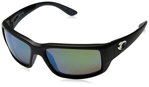 Costa Del Mar Men's Fantail 580G Polarized Rectangular Sunglasses, Matte Black/Copper Green Mirrored Polarized-580G, 59 mm
