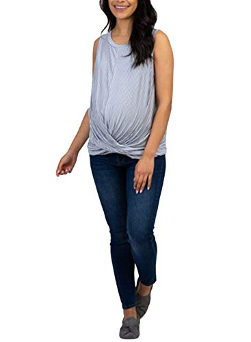 FIYOTE Damen Umstandsweste Still-Tanktops Streifen Druck Falten Gerafft Tee Shirt Ärmellos Schwangerschaft Kleidung Gr. Small, himmelblau
