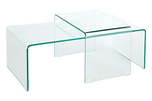 DuNord Design Couchtisch Glas 2er Set Beistelltisch Glastisch Design Tisch Set klar