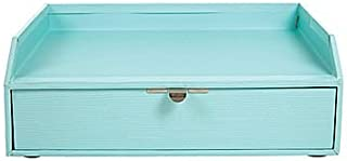 Office by Martha Stewart Stack+Fit Inbox with Drawer; Blue; Wood Grain Finish; 28801