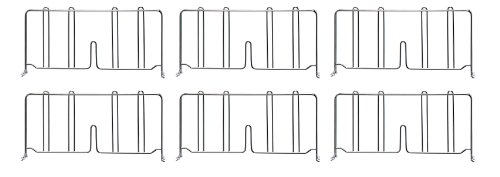 Quantum Storage Systems DIV24-6 Divider for 24 Deep Wire Shelving Units Chrome Finish 8 Height x 24 Width x 1 Depth Pack of 6