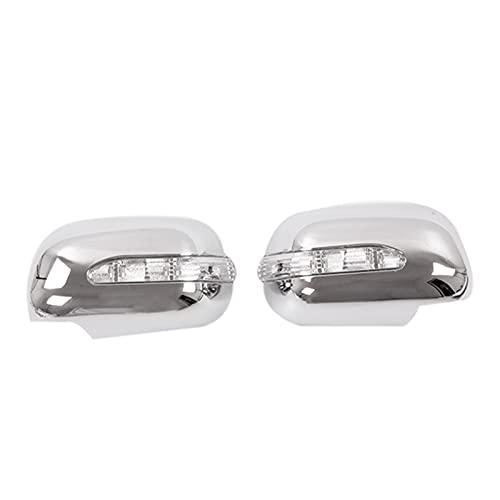 YYAN Ajuste para Toyota HILUX Vigo 2005-2011 Silver Chrome Retroview Tapa de la Puerta del Espejo de la Puerta con la lámpara de luz de la señal de Giro LED (Color : Silver)