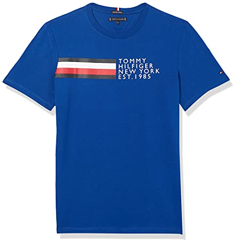 Tommy Hilfiger Global Stripe Graphic Tee S/S T-Shirt, Regal Navy, 14 Anni Bambino