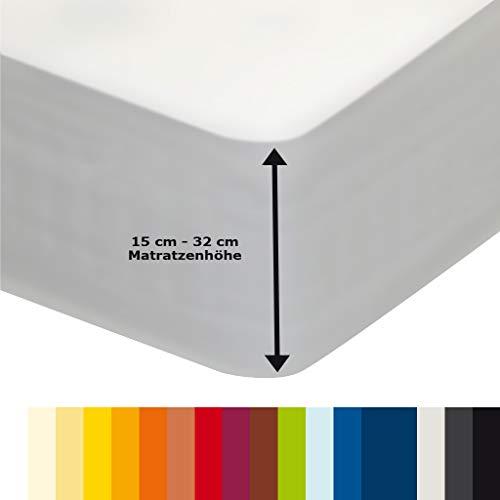 Jerseyspannbettlaken mit Gummizug für Übergröße Wasserbetten Boxspringbetten aus hochwertiger Baumwolle Elastan 180 x 200 cm - 200 x 220 cm Aquajersey Leintuch Betttuch Laken hohe Matratze Weiß