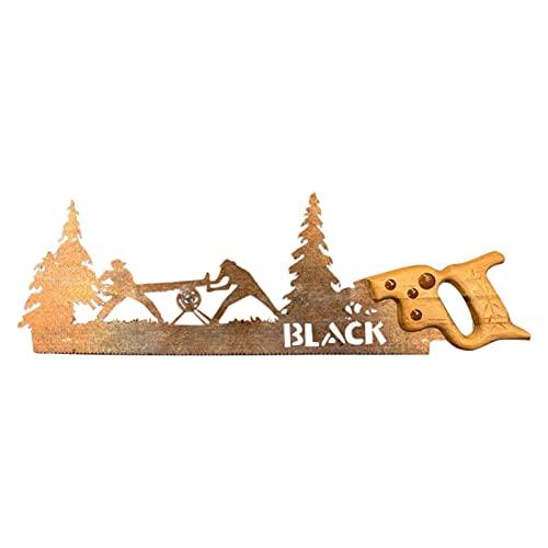 Sierra de mano de metal, diseño retro, hoja de sierra de mano, arte de metal, regalo único, árbol de arte de metal, sierra de arte de metal, artesanía, decoración de pared, 11,81 cm, 3,94 pulg