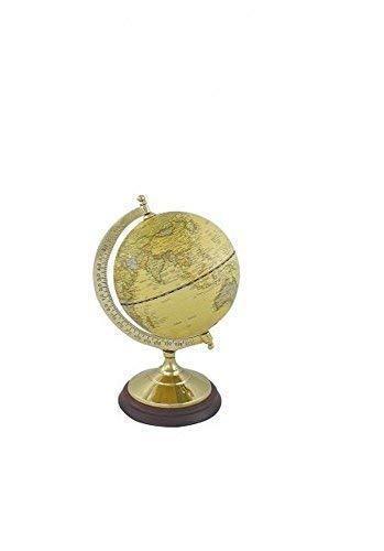 linoows Globus auf massivem Messinstand mit Holzsockel, historischer Globus 22 cm