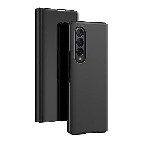 DOHUI Handyhüllen für Samsung Galaxy Z Fold 3 5G Hülle, Spiegel PU Flip Tasche Kratzfeste Magnetic Lederhülle Etui mit Standfunktion,Schutzhülle für Samsung Galaxy Z Fold 3 5G Hülle Cover (Schwarz)