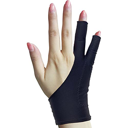 Timebetter Artist Drawing Glove, Digital Art Glove for Tablet iPad, Palm Rejection, Two Open Finger, Fit Left Right Hand - M, Pack of 2