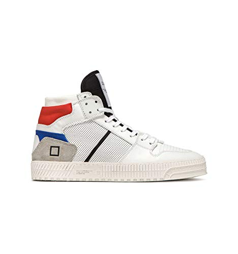D.A.T.E. Herren Prime Calf White-Red Sneaker aus Leder Weiß - 30877, Weiß - White Red - Größe: 45 EU