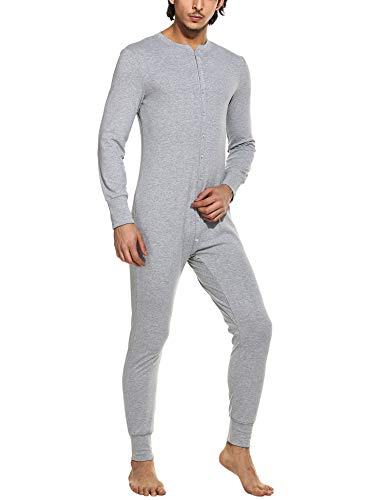 Hotouch Men's Waffle Knit Thermal Union Suit Light Heather S