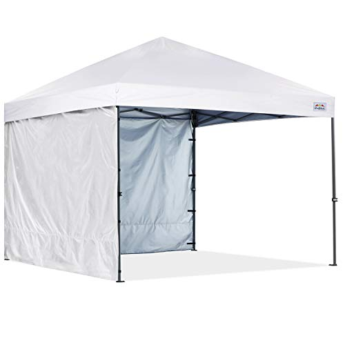 COOSHADE Pop Up Canopy Tent 8x8Ft Outdoor Festival Tailgate Event Vendor Craft Show Canopy with 2 Removable Sunwalls Instant Sun Protection Shelter with Wheeled Carry Bag(White)