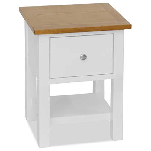 Festnight Nachttisch | Holz Nachtschrank | Modern Nachtkommode | Schlafzimmer Beistelltisch | Weiß und Braun Massive Eiche 36 x 30 x 47 cm