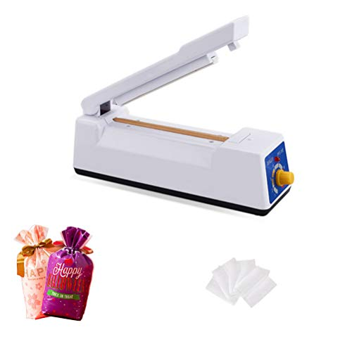 Bag Sealer, 4'/100mm Heat Sealer Impulse Manual Seal Closer for Cookie Bags Home Sealing Plastic Bags PE PP Bags with 100Pcs 2.7X3.9 Inch Cookie Bags & 2Pcs 6X9 Inch Gift Bags (White)