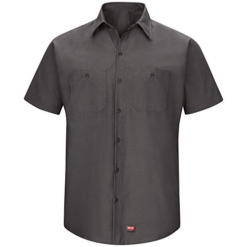 Red Kap Men's Short Sleeve Work Shirt with Mimix, Charcoal, Large