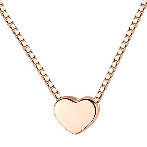 ZHUDJ Colgante de Plata de Ley 925 para Mujer, Collar de Cadena de Caja de Color Oro Rosa, Regalo de joyería Fina