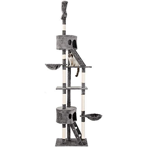PURLOVE Kratzbaum XXL Sisal Robuster Kletterbaum Katzennapf mit Großem Spielplatz Höhe 240-260 cm (Grau)