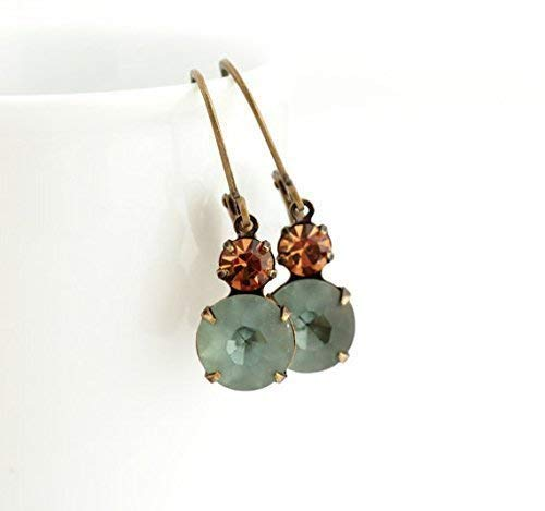Vintage style earrings in smokey blue and topaz - vintage glass jewels set in brass