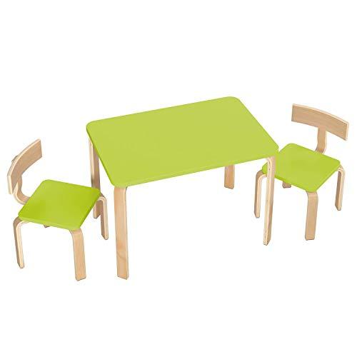 Homfa Kindersitzgruppe Kindertisch Kinderstuhl Sitzgruppe Kindermöbel aus 1x Tisch und 2X Stühle Holz grün