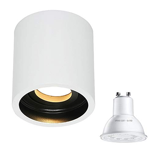 Plafondlamp wit plafond spot opbouwspot spotlight 1-lamp 1731W inclusief lamp GU10 5W LED