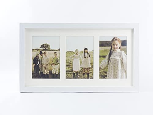 Marco foto múltiple con paspartú para collage de fotos 10x15 para mesa o pared (3 FOTOS, BLANCO)