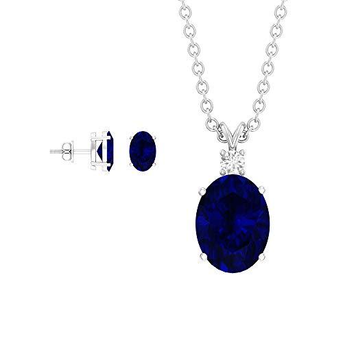 Juego de joyas de zafiro azul creado en laboratorio de 2,75 quilates, juego de collar de diamantes HI-SI, juego de colgante de oro con pendientes azul
