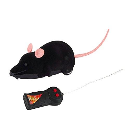 Ratón de peluche electrónico Rosenice con mando a distancia, juguete para gatos, perros y niños (negro)