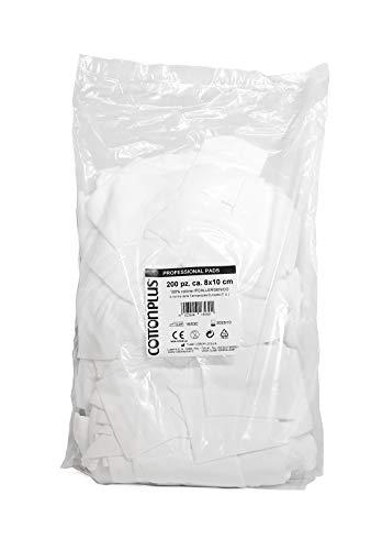 Cotton Plus Professional Pads Lot de 200 feuilles de papier toilette – Ligne médicale et professionnelle | Fausses rectangulaires 100% pur coton | Qualité supérieure, pratique et pratique.