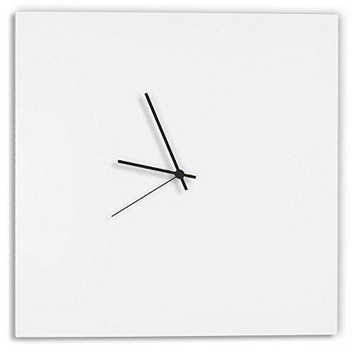 Modern white clock 'whiteout black square clock' minimalist metal wall clocks, contemporary decor - 16in. White w/black hands