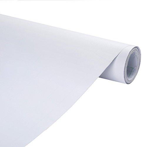 KINLO Pegatinas Muebles de Cocina Autoadhesivo Vinilos de Pared 0.61*5M Blanco Pegatinas Decorativas Pared Impermeable PVC Más Ecológico Exclusivamente para Mesa Aparador Armario Escritorio Cajón