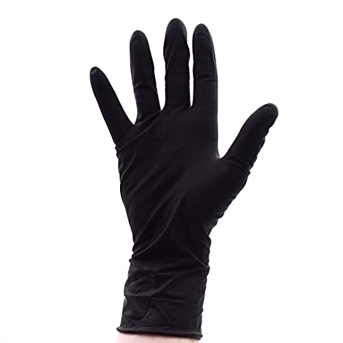 Colortrak Premium Grip Reusable Gloves, 4 Pairs (8 Gloves Total), Powder Free Latex, Durable and Chemical Resistant, Textured for Better Grip, Extra Long Cuff, Washable, Black, Medium
