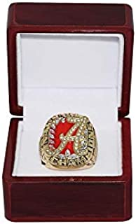 UNIVERSITY OF ALABAMA (Coach Nick Saban) 2009 BCS NATIONAL CHAMPIONS (Roll Tide) Crimson Tide Rare Collectible High-Quality Replica Gold Football Championship Ring with Cherrywood Display Box