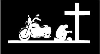 White Vinyl Decal Biker Praying Cross Man Christian Pray Bike Motorcycle Sticker, Die Cut Decal Bumper Sticker for Windows, Cars, Trucks, Laptops, Etc.