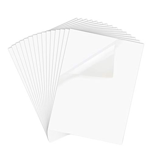 Printable Vinyl Sticker Paper for Inkjet Printer - 8.5 x 11 Inches 15 Sheets Translucent Premium Waterproof Sticker Paper - Dries Quickly and Holds Ink Beautifully