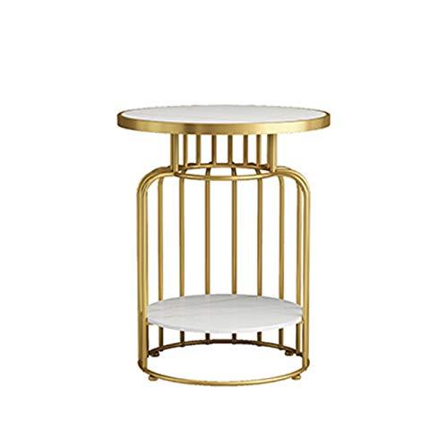 Sängskåp Vardagsrum kaffebord, marmor finish Double Layer Metal Round Tea Table Cafe Hotel Bedroom Sängbord, Storlek: 50 * 50 * 60CM korgbord (Color : #1, Size : 50 * 50 * 60CM)