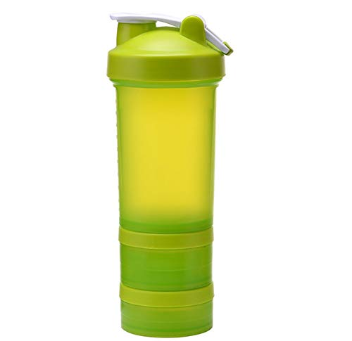 CHUANGJIE Shake Shaker Fitness Sport Cup Eiwit Poeder Milkshake Cup Drie lagen Plastic Cup Tornado Cup Roeren bal Groen