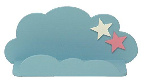 Sonpó Online - Modelo AFA18 - Estante infantil con forma de nube de AFAEPS para colocar libros, juguetes - Hecho a mano de manera artesanal en madera - Color azul con estrellas decorativas