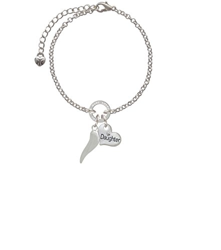 """Silvertone Good Luck Italian Horn Daughter You are Loved Circle Bracelet, 8"""""""