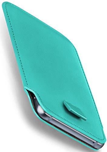 MoEx Nokia 8110 4G | Hülle Türkis Sleeve Slide Cover Ultra-Slim Schutzhülle Dünn Handyhülle für Nokia 8110 4G Hülle Full Body Handytasche Kunst-Leder Tasche