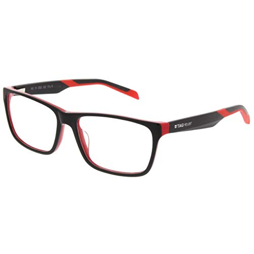 TAG Heuer B-URBAN 0553 C-002 Black On Red Plastic Rectangle Eyeglasses