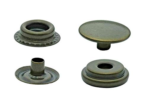 Ista Tools S-Feder, Ring-Feder Druckknöpfe 10mm, 12,5mm, 15mm, Stahl, Spindelpresse, Nieten (50, 15mm, antik, Ring-Feder)