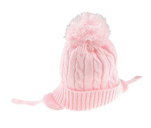 Bonnet doux pour bébé fille/garçon/garçon/hiver chaud avec pompon en tricot de style Inca rose ou blanc rose rose 12-18 mois