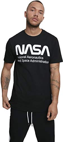 Mister Tee Herren NASA Wormlogo T-Shirt, Black, XL