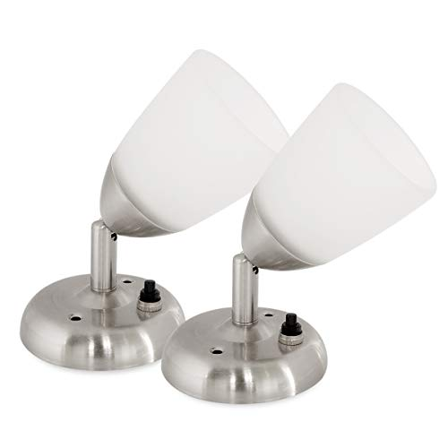 Dream Lighting 12volt DC RV Reading Lights with Frosted Glass Shade, Wall Mount Book Reading Lamp...